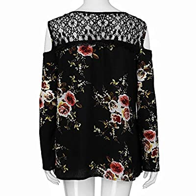 Plus Size T-Shirt, Womens Lace Cold Shoulder Floral Printed Long Sleeve Fashion Blouse Tops at  Women's Clothing store