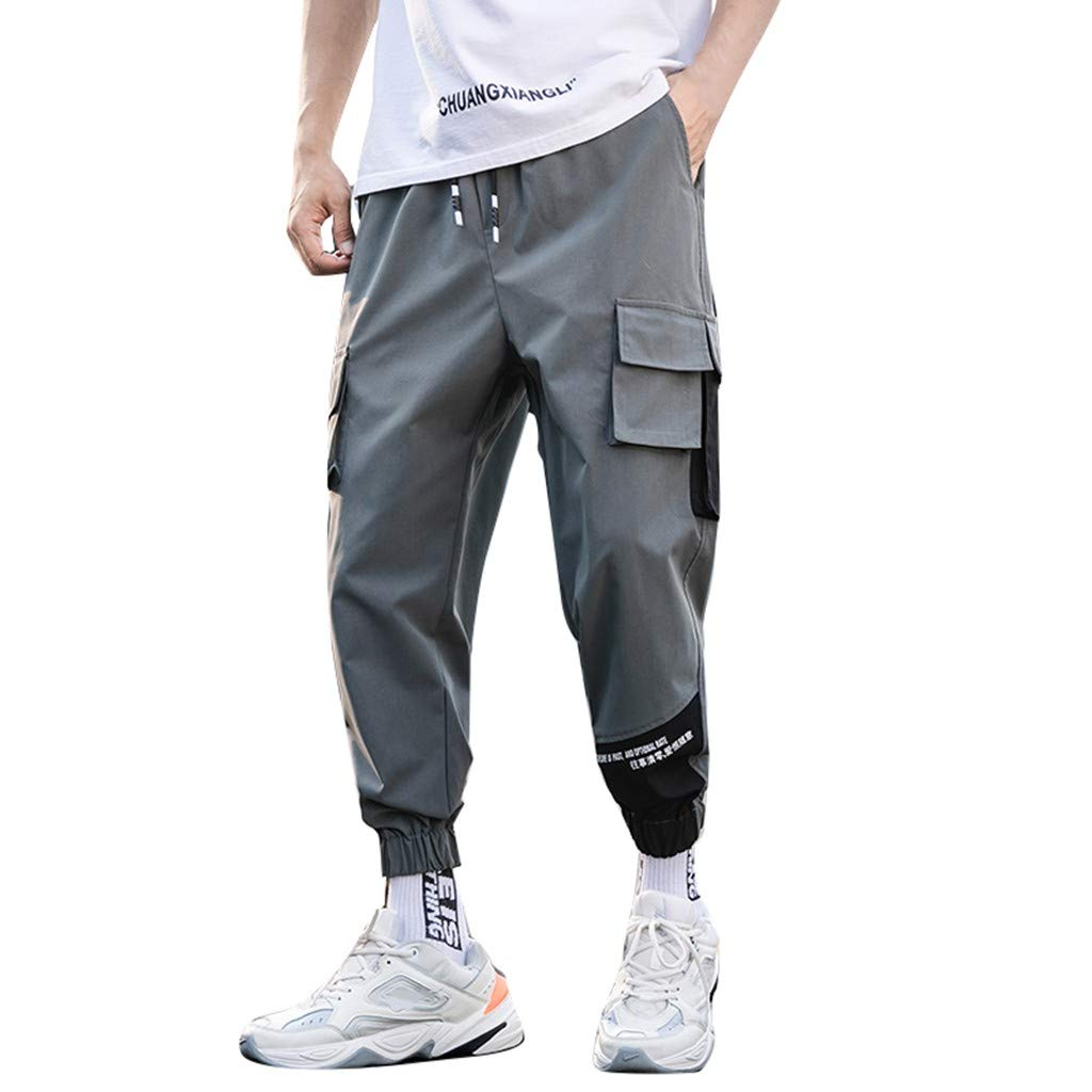 Men's Plus Size Pants Casual Pure Color Elastic Waist Drawstring Lightweight Comfort Stretch Pant Trousers Overalls Gray