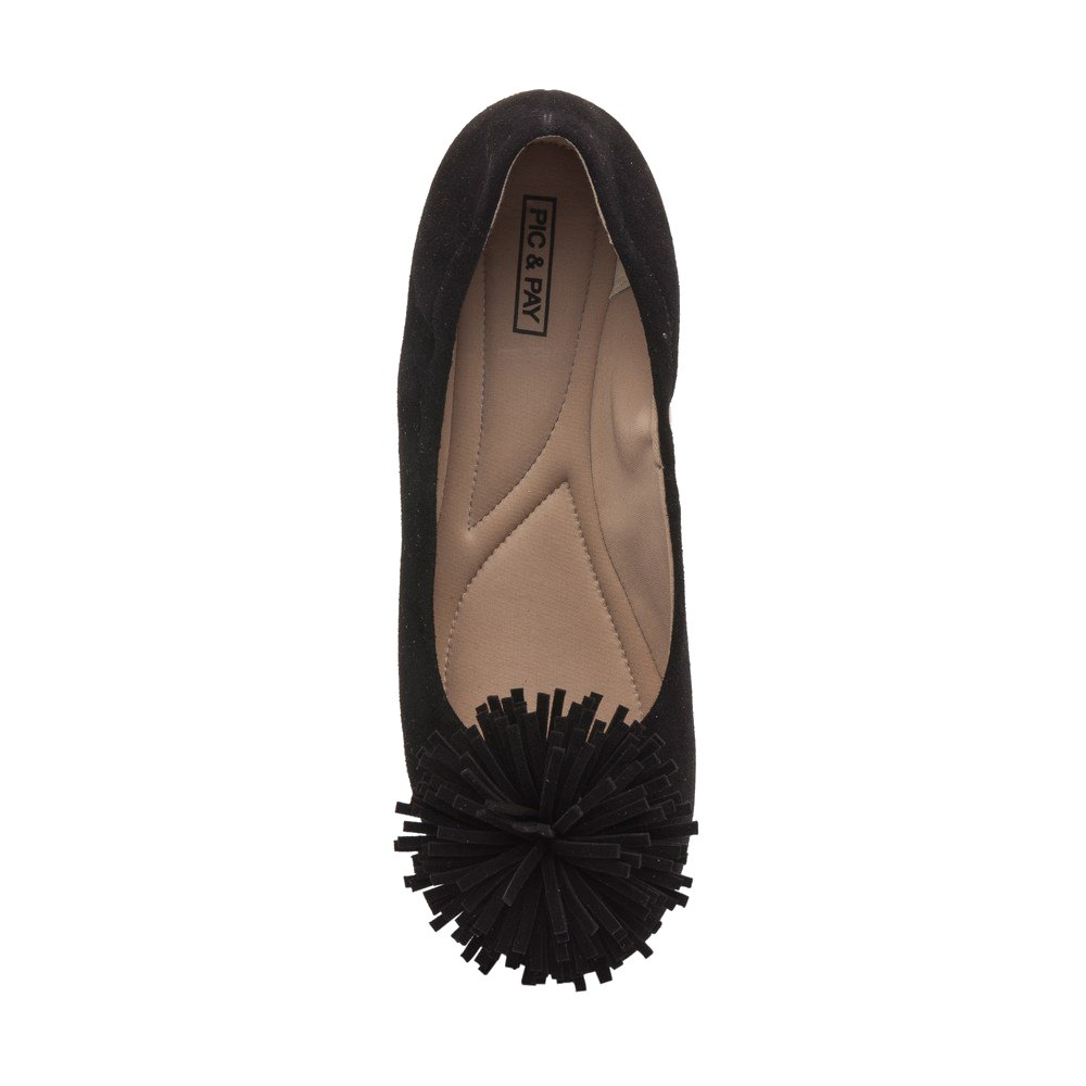 PIC/PAY Kiana - Women's Tassel Elastic Ballet Flat - Comfortable Embellished Suede Leather Pompom Comfortable - Slip-On B07534MP76 7 B(M) US|Black Suede 82823e
