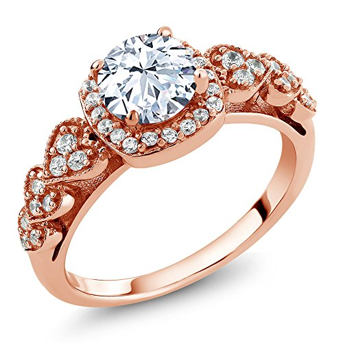 Rose Sapphire Ring (1.52 Ct White Created Sapphire 18K Rose Gold Plated Silver Ring (Size 6))