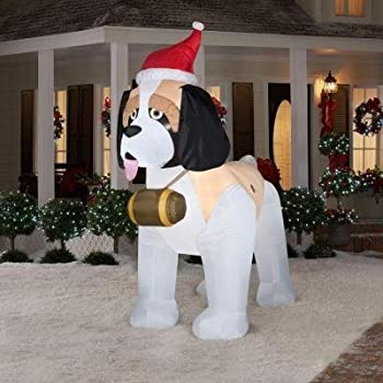 Giant airblown st bernard inflatable dog 9 for Amazon christmas lawn decorations