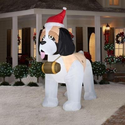 Giant Airblown St. Bernard Inflatable Dog, 9 Foot Holiday Outdoor Yard Inflatable Decoration
