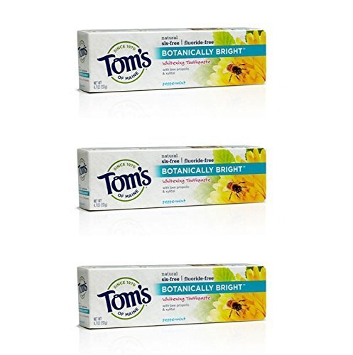 Tom's Of Maine Botanically Bright SLS-free Whitening Paste Peppermint Peppermint 4.7 Ounce (Pack of (Sls Free Toothpaste)