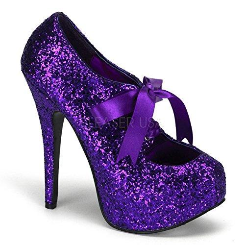 (Bordello by Pleaser Women's Teeze-10G Pump,Purple Glitter,10 M)