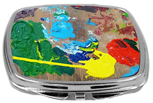 Rikki Knight Compact Mirror, The Painter Pallet on Wood, 3 -