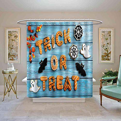 TimBeve Shower Curtain Halloween,Fresh Trick or Treat Gingerbread Cookies on Blue Wooden Table Spider Web Ghost,Multicolor Shower Curtain Set, W72 x L96 -