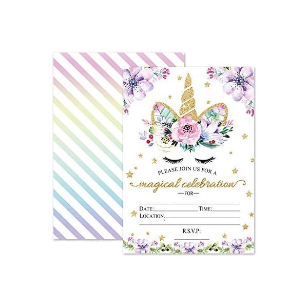Invitaciones de cumpleaños de unicornio mágico, invitaciones de unicornio con purpurina Outego con sobres para cumpleaños de niños