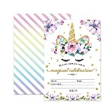 Magical Unicorn Birthday Invitations, Outego Glitter Unicorn Invitations with Envelopes for Kids Birthday (24 Pack)