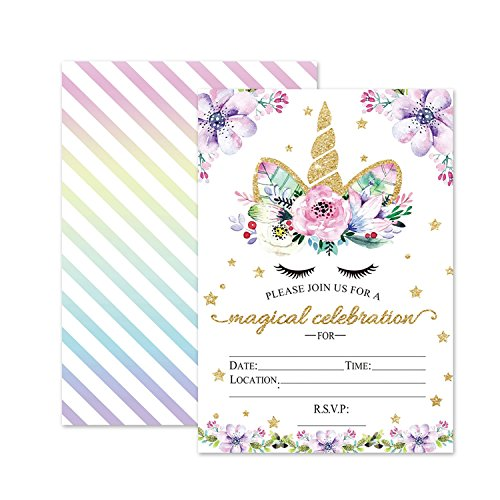Magical Unicorn Birthday Invitations, Outego Glitter Unicorn Invitations with Envelopes for Kids Birthday (24 Pack) ()