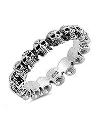 925 Sterling Silver Skulls Ring