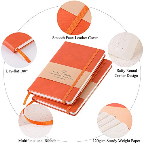 Large Product Image of Dotted Bullet Grid Journal - Dot Grid Hard Cover Notebook, Premium Thick Paper with Fine Inner Pocket, Orange Smooth Faux Leather, 5''×8.25''