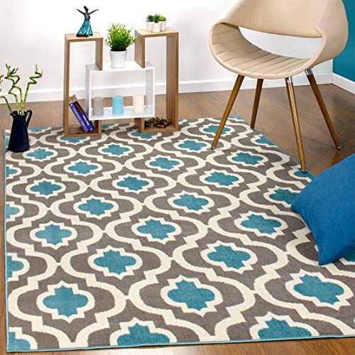 Antep Rugs Kashan King Collection 505 Trellis Polypropylene Indoor Area Rug Blue and Cream 8' X 10'