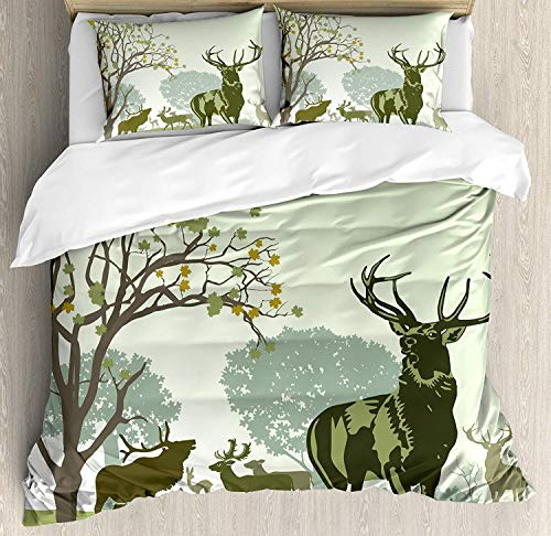 - ZOMOY Antlers Decor Duvet Cover Set Queen Size, Deer and Wildlife in Park World Natural Heritage Forest Areas Reindeer, Decorative 3 Piece Bedding Set with 2 Pillow Shams