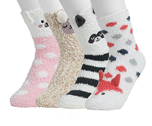 Women Girls 3D Cute Animals Slipper Sleeping Winter Crew Fuzzy Socks Value Pack (3D Animal (Girl Cute Animal)