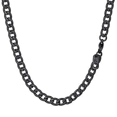 PROSTEEL Collar Hombre Cadena Cubana de Acero Inoxidable 5mm/7mm de Ancho Modelo Clásico 46cm/51cm/55cm/61cm/66cm/71cm/76cm y 3 Colores para ...