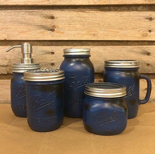 5-Piece-Rustic-Blue-Mason-Jar-Bathroom-Accessory-Set-or-Desk-Set-with-Mason-Jar-Drinking-Mug-and-Mason-Jar-Soap-Dispenser-Mens-Bathroom-Decor