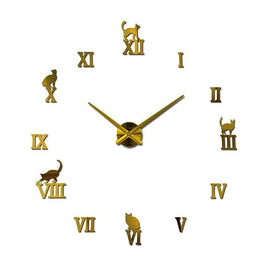 XUANLAN Reloj de Pared clásico Moderno DIY Reloj de Pared Grande ...