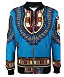 Cromoncent Womens Dashiki Zipper Africa Graphic Casual Bomber Jackets Coat Light Blue X-Large