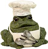 Homestyles Toad Hollow #94007 Figurine Chef with Kitchen Apron & Chef Hat Holding Cooking Spoons Grill Character Garden Statue Small 5.5″h Toad Figure Evergreen For Sale