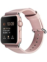 Apple Watch Band 38mm,XGUO iWatch Bands Premium Genuine Leather Replacement Strap with Secure Metal Clasp Buckle for Apple Watch Series 3 & 2 & 1 ( PINK )