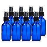 Glass Spray Bottles – 8 Piece 2oz Cobalt Blue Small Glass Bottles Set with ...