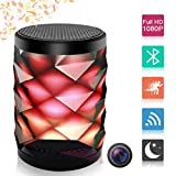 Poetele Hidden Camera Bluetooth Speaker,Wi-Fi Spy Camera 1080P Video Recorder Colorful Night Light/Real-Time View/Wireless Stereo/Motion Alarm Detection for Home Security Monitoring Nanny Cam