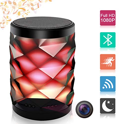Poetele Hidden Camera Bluetooth Speaker,Wi-Fi Spy Camera 1080P Video Recorder Colorful Night Light/Real-Time View/Wireless Stereo/Motion Alarm Detection for Home Security Monitoring Nanny Cam ()