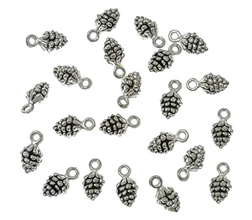 (Alimitopia 50pcs Christmas Pine Cone Small Pendant Nature Nuts Charm for DIY Jewelry Making Accessories(Antique Silver Tone))