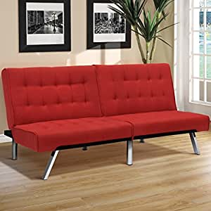 Best Choice Products Modern Linen Futon Sofa Bed Fold Up & Down Couch Recliner Lounger Sleeper Furniture Red