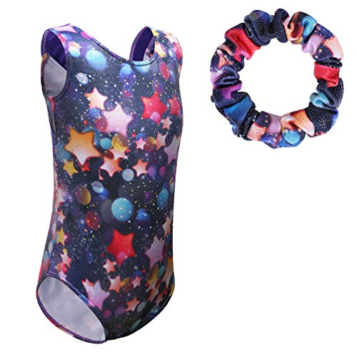 TFJH E 2 in 1 Sparkly Gymnastic Leotard for Girls Athletic Apparel Bodysuit with Scrunchie Stars 12A -
