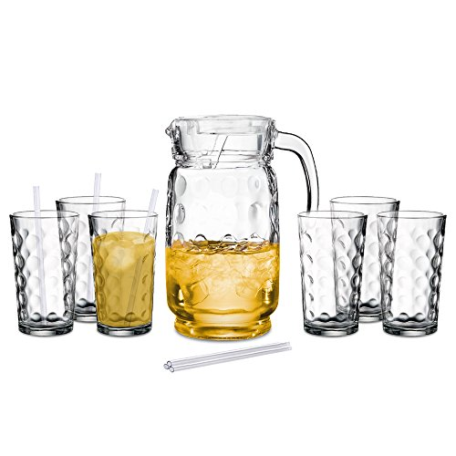 60 Oz Glass Pitcher with Lid and Drinking Glasses Set - Decorative Jug and Six 12 Oz. Tall Cups (Dishwasher Safe) (Decorative Water Pitcher compare prices)
