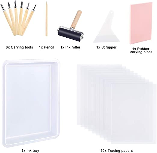 Ink Roller Keadic 24 Pieces Rubber Block Stamps Carving Starter Tool Kit 6 Carving Tools Tracing Papers Pencil /& Ink Mixing Tray for Stamp Carving and Printmaking Comes with Stamp Block