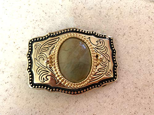 Imperial Jasper Set in a Gold Tone Bezel Resting on a Black and Gold Tone Belt Buckle.