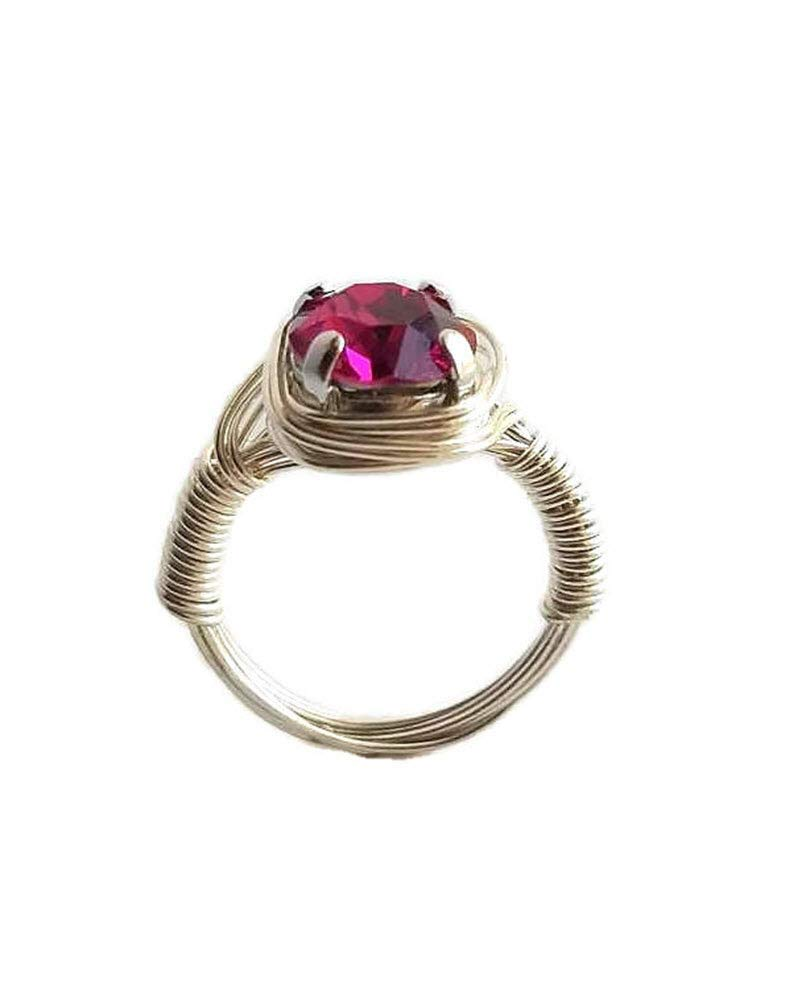 a92c84fb7 Amazon.com: Hot Pink Swarovski Crystal Sterling Silver Ring, Wire Wrapped Solitaire  Ring, Custom Size 4 5 6 7 8 9 10 11 12 13 14 15, Includes Ring Box: ...