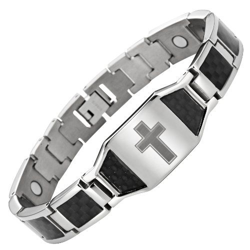 Willis Judd Men's Titanium Magnetic Christian Cross Bracelet with Black Carbon Fiber Insets Adjustable ()