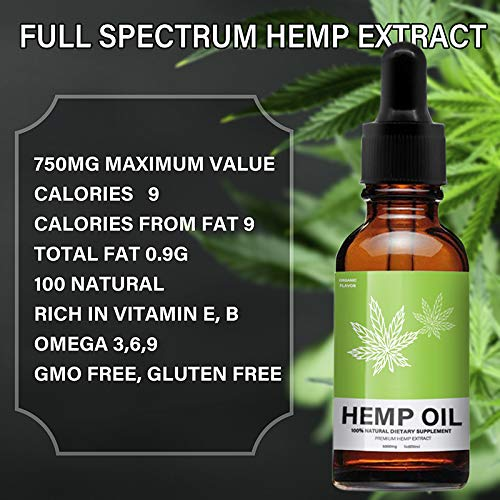 Hemp Oil Extract for Pain, Stress & Anxiety Relief - 5000 MG Sleep Support, Promotes Relaxation, Full Spectrum Extract Drops, Organic Natural Hemp Seed Oil, Rich in Omega 6, 9 Fatty Acids (30ml) by Mespirit (Image #2)