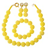 laanc Fashion Women 1 Rows Multicolor Plastic Imitation Pearl Nigerian Wedding Beads African Jewelry Sets (Yellow)