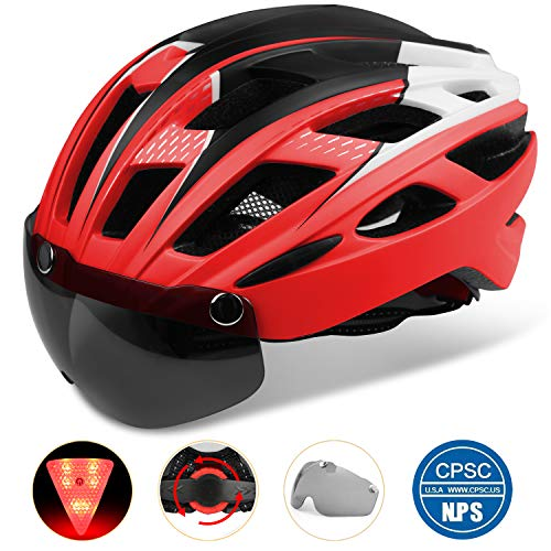 Bike Helmet, Basecamp Bicycle Helmet Cpsc&Ce Certified Cycling/Climbing Helmet Bc-069 with Detachable Magnetic Goggles Visor&Led Back Light&Portable Backpack Adjustable for Men/Women Mountain