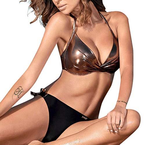 Women Sequined Patchwork Swimwear Beach Push Up Bikini Set Brazilian Swimsuit (Brown,S)