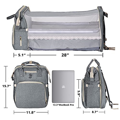 Diaper Bag Backpack, 3 in 1 Baby Bag, Portable Multifunctional Backpack forBoys Girls, Waterproof Changing Pad& Insulated Pockets, Newborn Essentials for Diaper Organizer and Baby Bed(Grey)