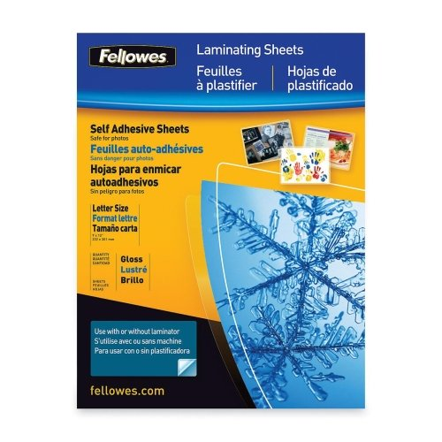 Fellowes Self-Adhesive Laminating Sheet - 9.25amp;quot; Width x 12amp;quot; Length - Type G - Glossy - Self-adhesive - 1 Each - Clear