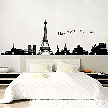 Awesome Paris Wall Decals   Eiffel Tower Wall Decor   Black And White Wall Stickers    Peel