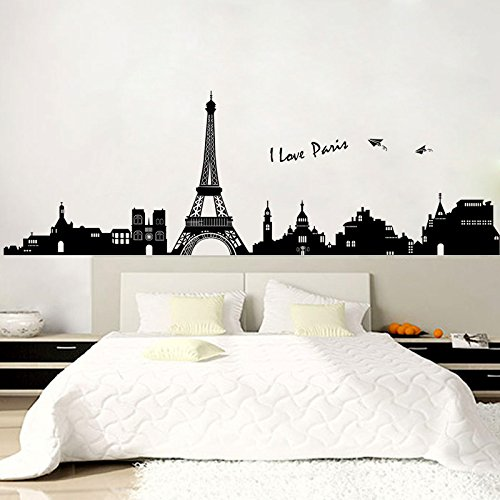 Paris Wall Decals - Eiffel Tower Wall Decor - Peel and Stick Paris Decor - Eiffel Tower Vinyl Wall Decor - Paris Eiffel Tower Wall Stickers - Black and White (Halloween Scenery Background)