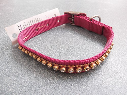 Scott - Adjustable Mauve Rib Nylon & Rhinestone Dog / Cat Collar 5/8