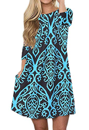 (Silvous Women's Long Dress 3/4 Sleeve Midi Dress Floral Print Tunic Dress with Pockets (Blue M))