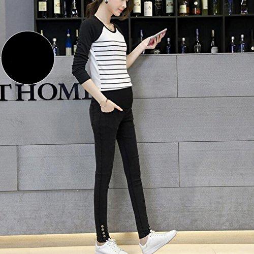 Highdas Embarazo Slim Denims Skinny Maternidad Jeans para Primavera y Otoño Negro