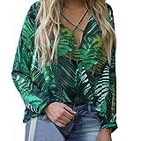 vermers Women Long Sleeve Chiffon Tops - Womens Casual V Neck Irregular Printed T Shirt Sexy Blouse(XL, Green)