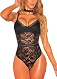 #7: FIYOTE Women Sexy Sheer Lace Mesh Straps Jumpsuit Bodysuit Tops Clubwear