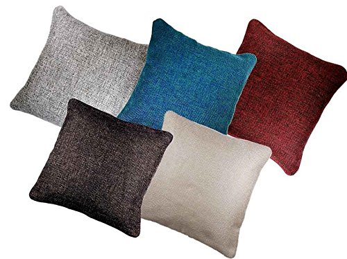 AMAZON GREAT INDIAN SALE DISCOUNT – Belive-Me Classic Jute Cotton Multi color Cushion Covers (16X16 Inches) Set Of 5