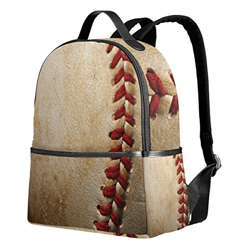 Use4 Vintage Baseball Print Sport Polyester Backpack School Travel Bag - Print Backpack Handbags